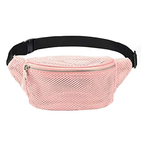 3ff613aaa54a LOPHORINA Mesh translucent Fashion Waist Bag Water Resistant Adjustable  Fanny Pack Unisex Pink