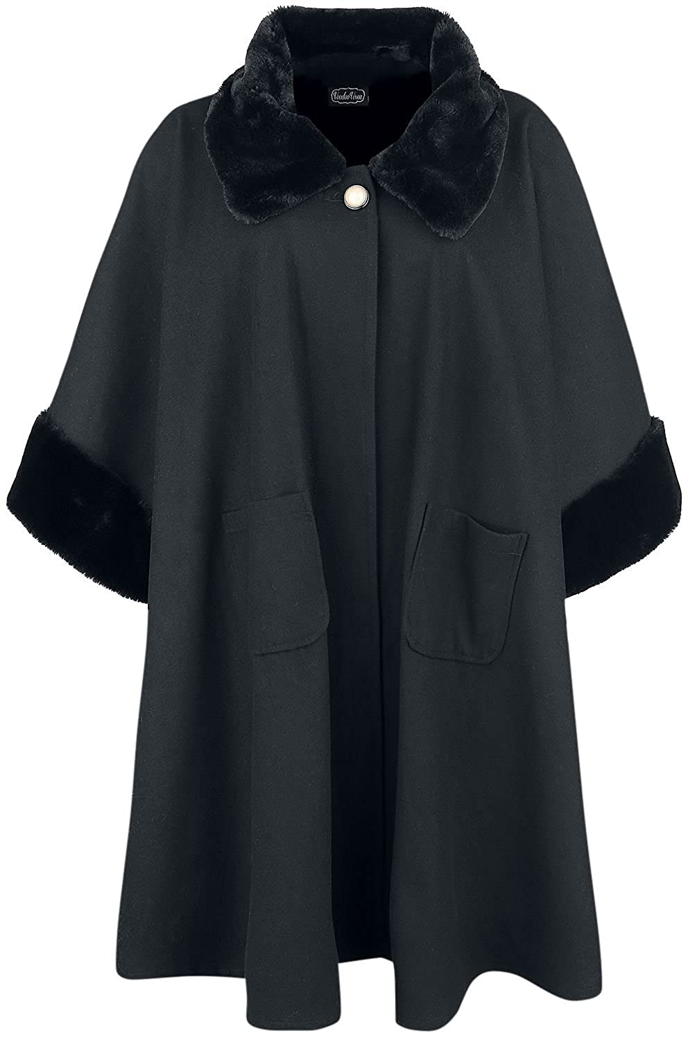 1950s Coats and Jackets History Voodoo Vixen Womens Melrose Faux Fur Cape (Black) $63.84 AT vintagedancer.com