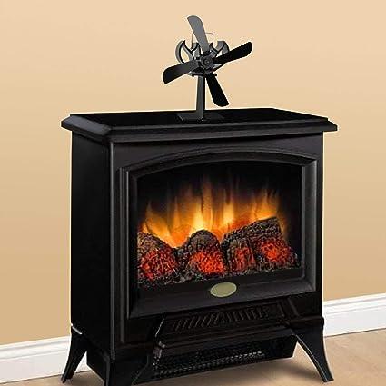 Lorenlli Calentador negro Encendido 4 cuchillas Estufa Ventilador Registro Chimenea Quemador de leña Ventilador ultra silencioso