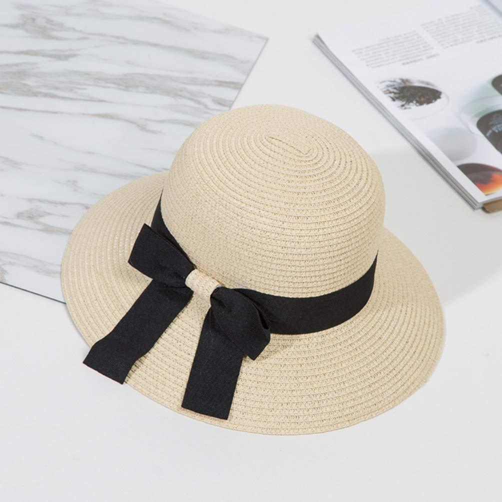 d519a8da356 Summer Women Flat Sun Hat European Casual Fashion Bowknot Straw Block Wide  Brim Sunshade Holiday Beach Cap Female Girls Beige at Amazon Women s  Clothing ...