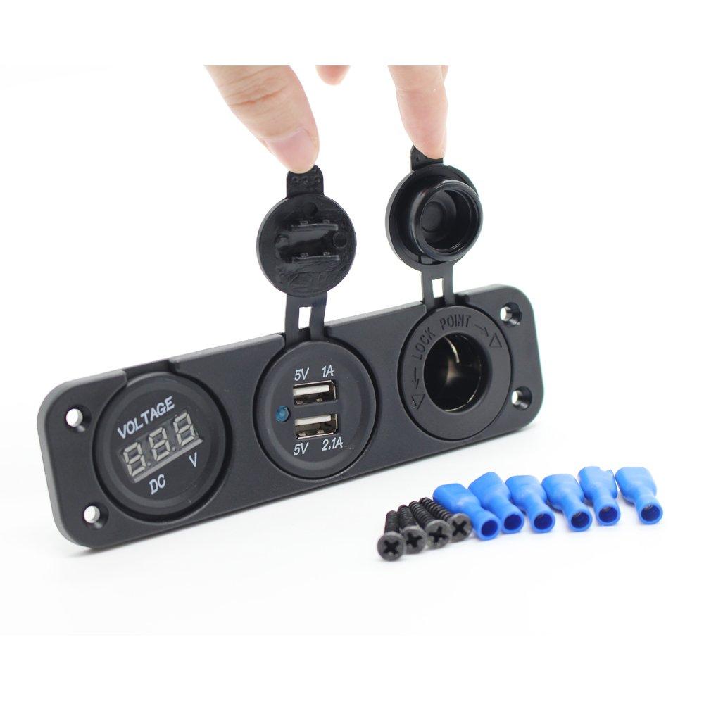 Voltm/ètre LED Bleu Num/érique Weili 3 en 1 Chargeur USB Double Adaptateur Prise Allume-cigare Adaptateur Secteur Panneau