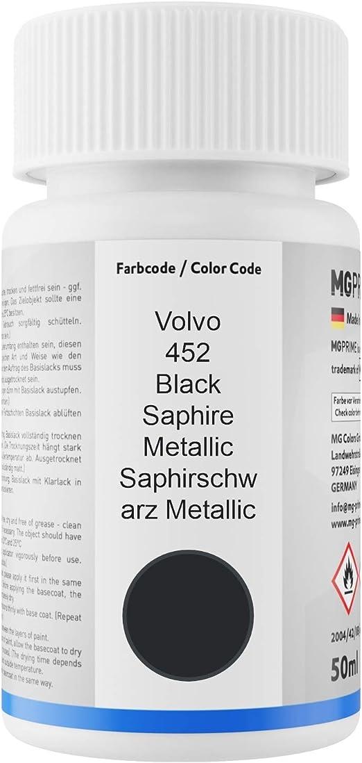 Mg Prime Autolack Lackstift Set Für Volvo 452 Black Saphire Metallic Saphirschwarz Metallic Basislack Klarlack Je 50ml Auto