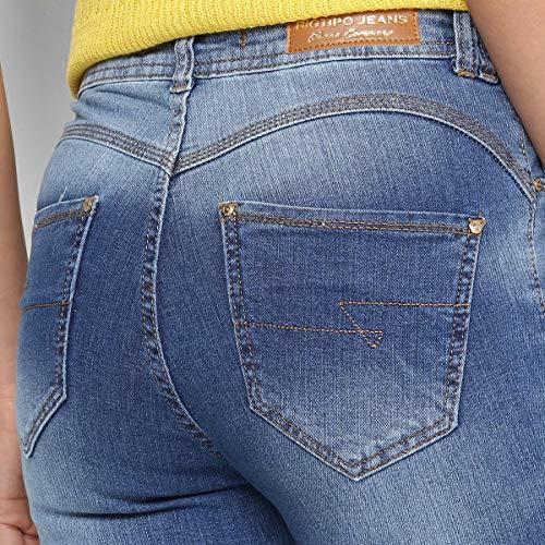 Calça Jeans Cigarrete Biotipo Cintura Média Feminina - Azul - 44