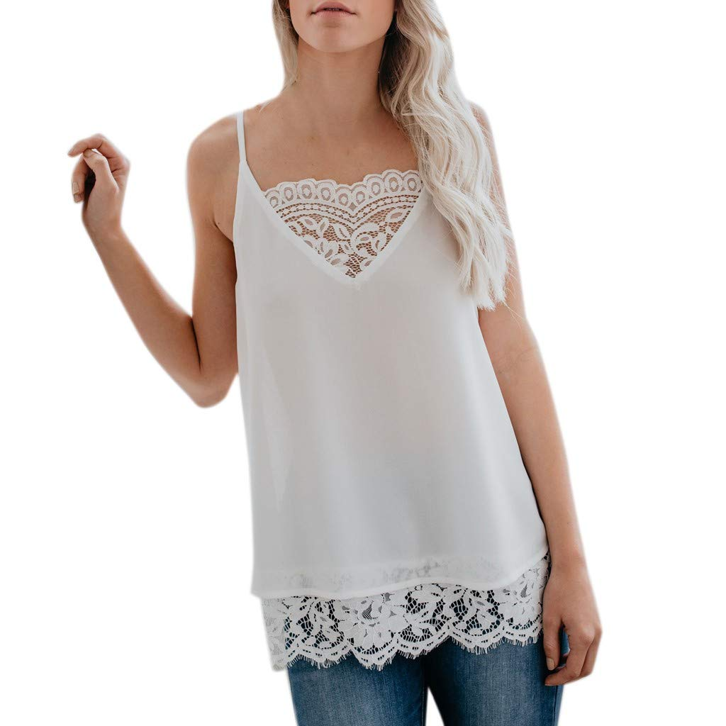 YFancy Women Tank Tops Silk Satin Lace Patchwork Camisole Plain Strappy Casual Loose Daily Vest Top Sleeveless Blouse