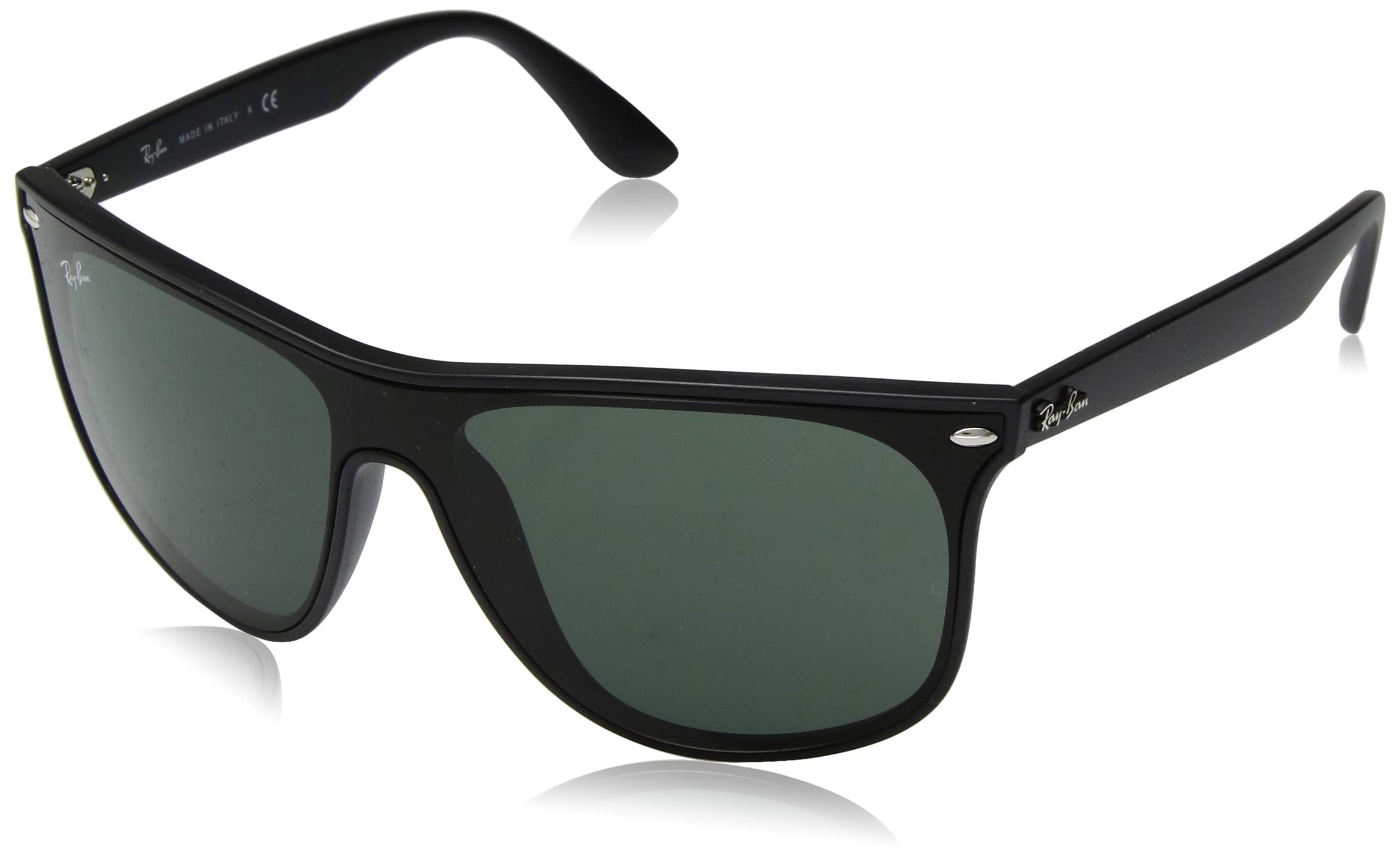 RAY-BAN RB4447N Blaze Square Sunglasses, Matte Black/Green, 40 mm by RAY-BAN