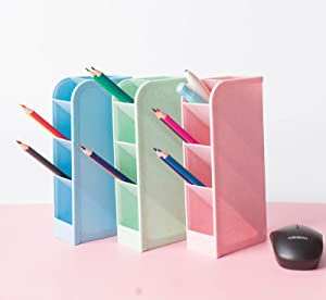 HyPROM 5 Pcs Desk Organizers and Storage Room Organization Pen Organizer Storage for Cute School Supplies, Office,Art Supply,Kawaii Room Decor, Pink Blue Green Pen Storage Holder, 3 Pack,14 Compartments,(2 Cups free)