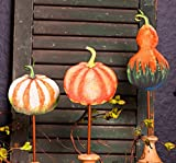 The Round Top Collection Painted Metal Pumpkin Stake (White and Orange)