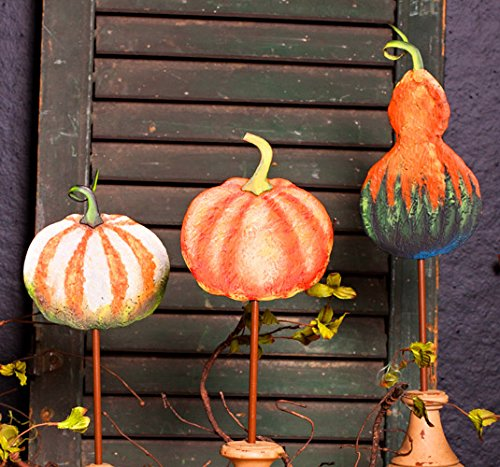 The Round Top Collection Painted Metal Pumpkin Stake (White and Orange) by The Round Top Collection
