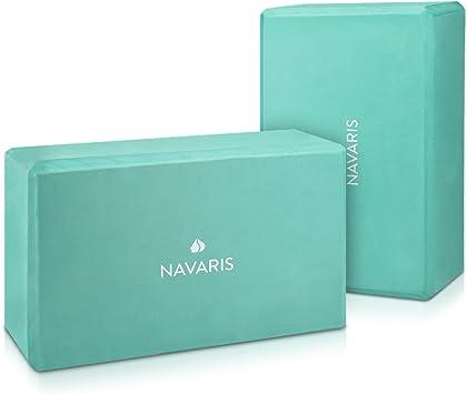 Navaris Yoga Blocks, Set of 2 - EVA Foam Brick to Provide Stability and Balance - Lightweight Block for Exercise, Pilates, Workout, Fitness, Gym