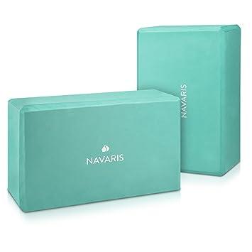 Navaris Set 2en1 Bloque de Yoga - 2X Bloques de Yoga para Pilates - Accesorio para Ejercicios - Ladrillos de Yoga en Verde