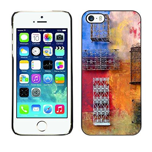 Premio Sottile Slim Cassa Custodia Case Cover Shell // V00001957 Colorful mur // Apple iPhone 5 5S 5G
