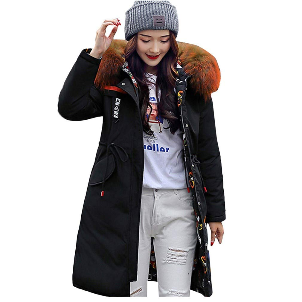 Black Women's Reversible Down Jacket Winter Warm Long Parka Coat with Artificial Fur Hooded