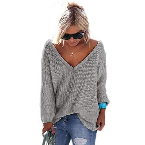 Ularma Jerséis de la mujer, Suéter de punto flojo suéter de manga larga