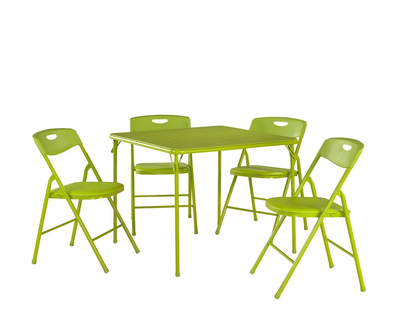 Cosco 5-Piece Folding Table and Chair Set, Apple Green