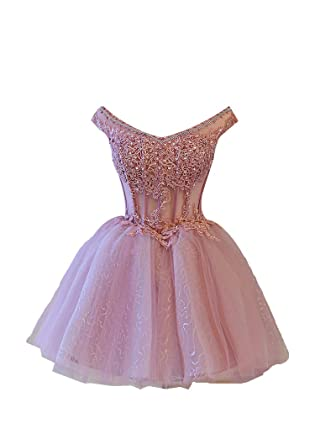 d0f9977e95f LADY Women s V Neck Short Lace Applique Beaded Sequin Tulle Homecoming Gown  Purple US2