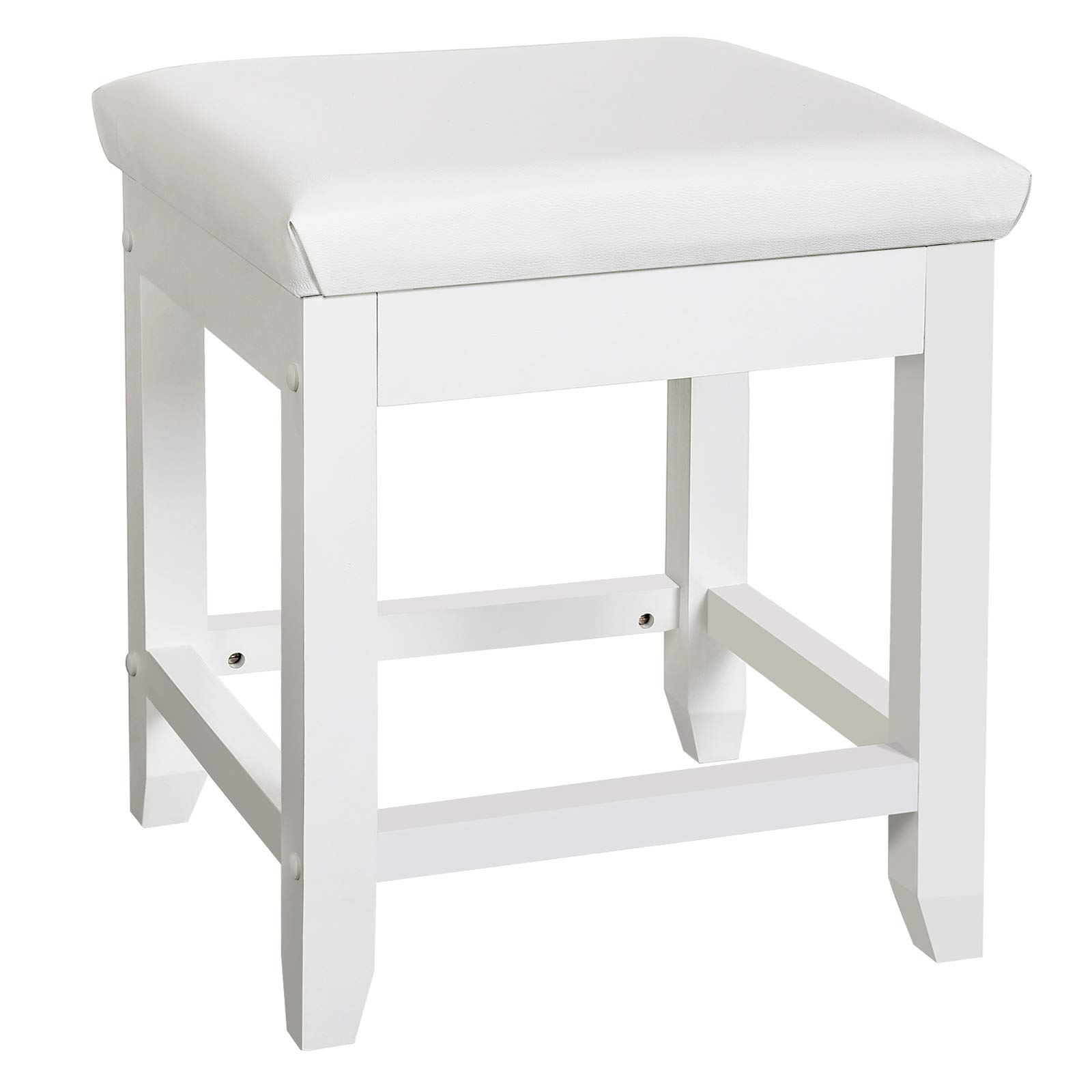 SONGMICS Vanity Stool PU Leather Makeup Dressing Stool with Rubberwood Legs Modern Stool White URDS52W by SONGMICS