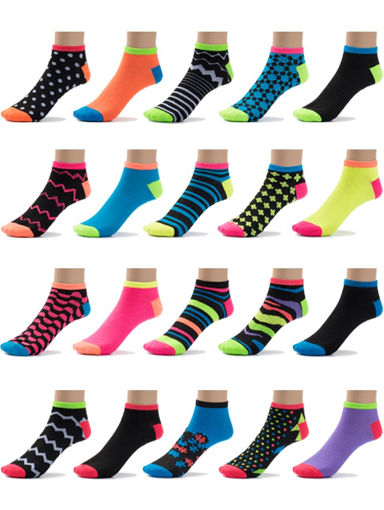 ComfortNFashion Women's Low Cut Socks Multi Pack- 20 Pairs (9-11 (Regular- Women's), Neon Stripes (2063-1))