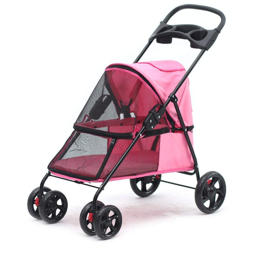 H GWM Backpacks Four Wheel Pet Stroller for Cats Dogs Carriage Cart with Congreenible Compartment Walk for Jogger Jogging Travel (Size   H)