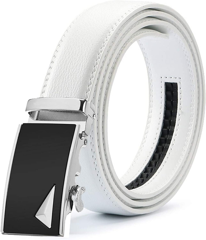 New Mens Fashion Automatic Buckle Leather Luxury Man cinturones hombre Black white Belt Alloy buckle White belt for Men,21,115cm