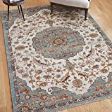 "Cheap Tesoro Blue Red & Yellow Medallion Short Pile Kilim Style Modern 8×11 (7'10"" x 9'10"") Area Rug Antique Weathered Multi Color Pattern"
