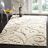Safavieh Florida Shag Collection SG455-1113 Scrolling Vine Cream and Beige Graceful Swirl Area Rug (6' x 9')