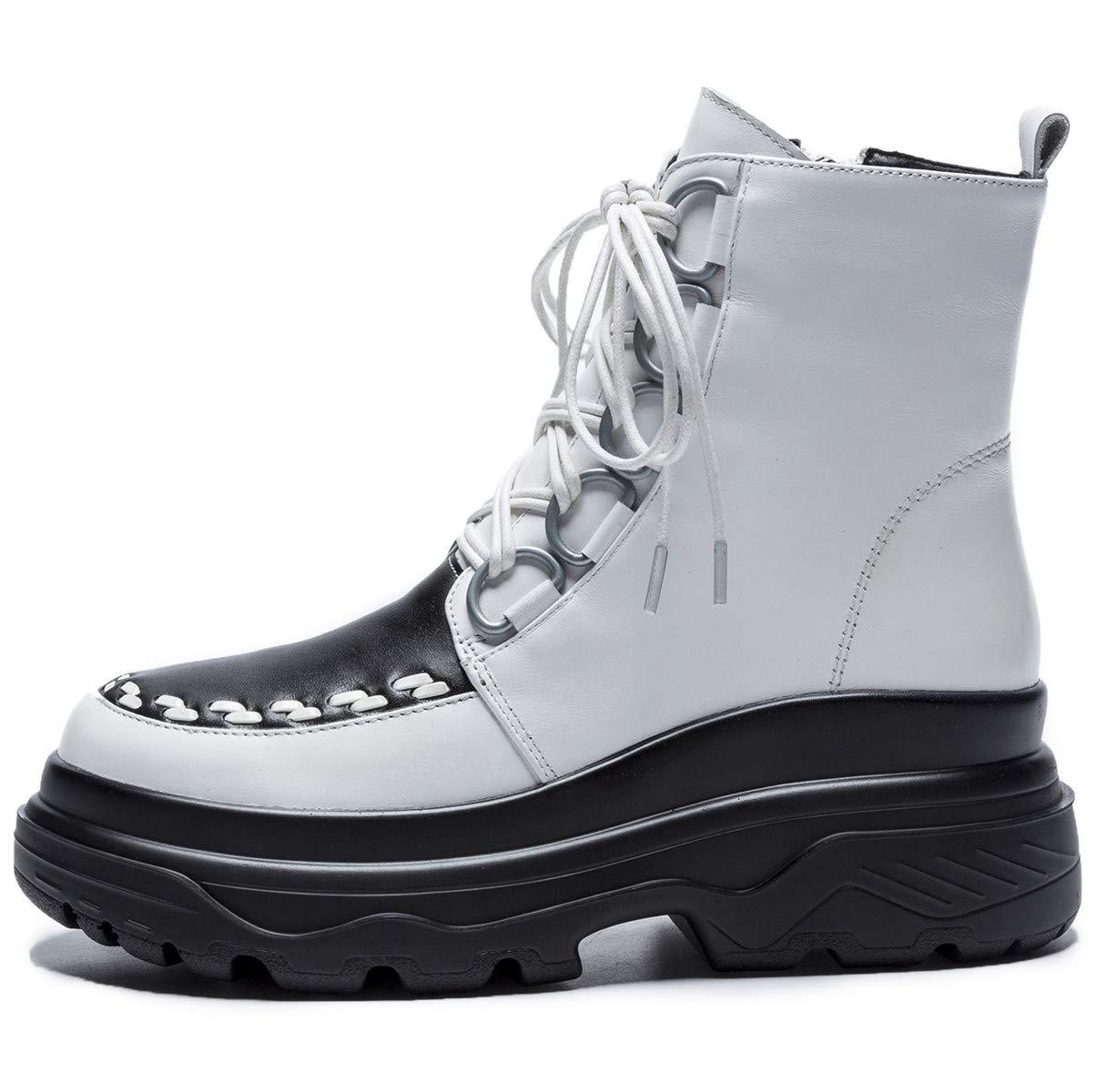 HHXWU Schuhe Damenschuhe Stiefelies Plateau Lace Damen Stiefel Leder Lace Plateau Martin Stiefel, weiß warm, 39 12b897