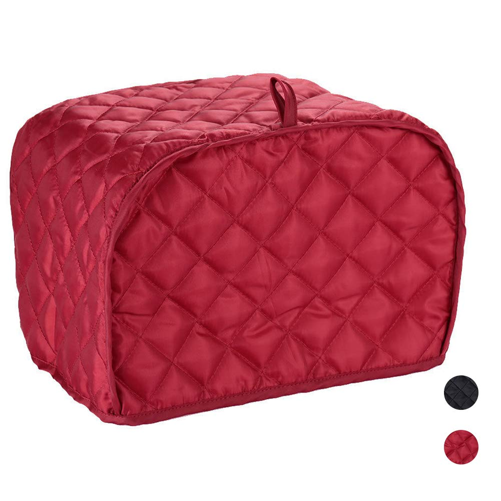 Polyester/Cotton Quilted Toaster Cover, toaster oven/broiler appliances cover, Kitchen Appliance Protection Dust Cover (Red toaster cover, 12.2