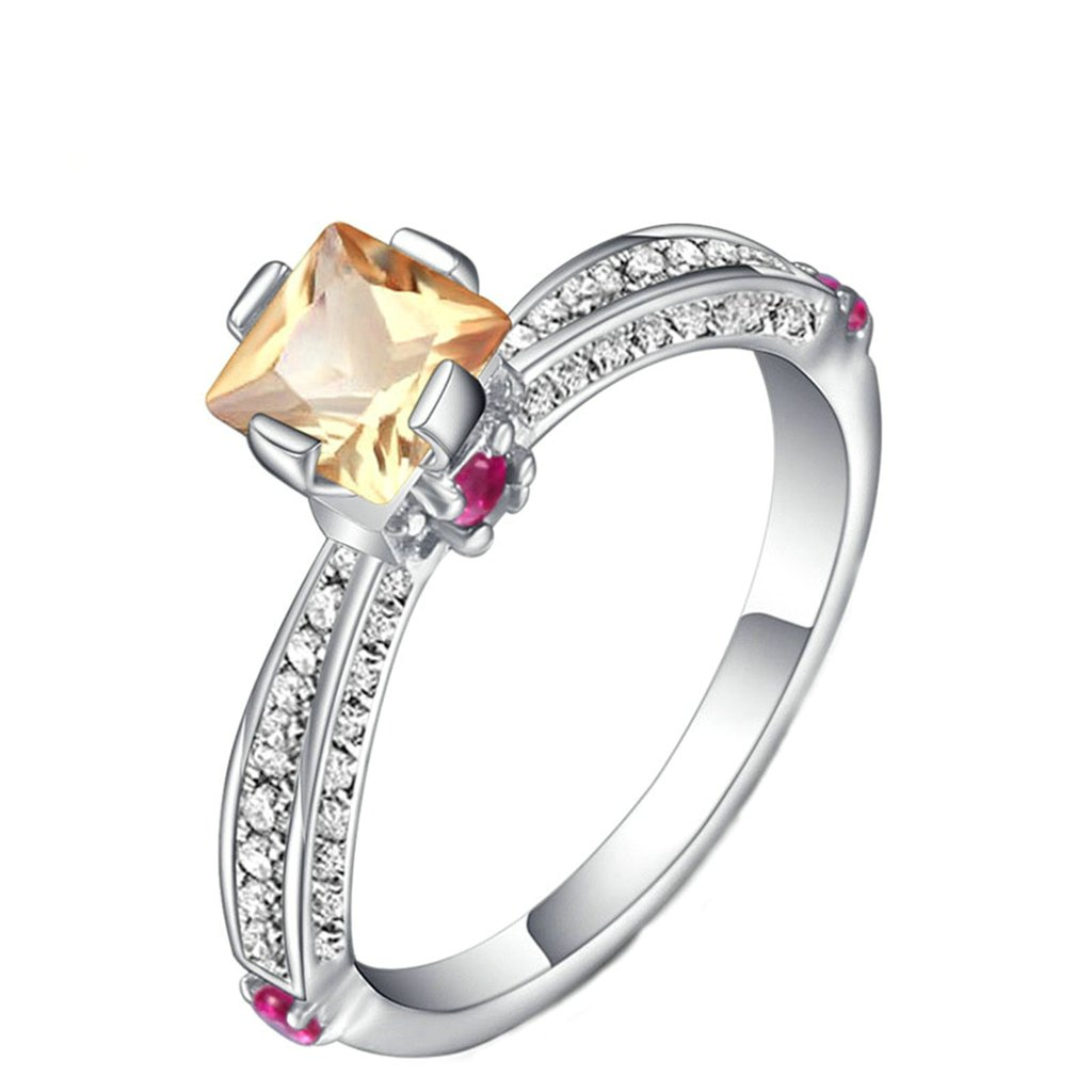 Bishilin Silver Plated Fashion Princess Cut Square Crystal Silver Wedding Band Rings for Women Size 6
