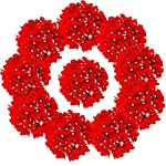 LUSHIDI-10PCS-Silk-Hydrangea-Heads-with-Stems-Artificial-Flowers-for-Wedding-Party-Home-Decor-Red