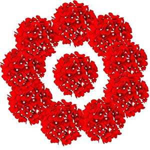 LUSHIDI 10PCS Silk Hydrangea Heads with Stems Artificial Flowers for Wedding Party Home Decor (Red)