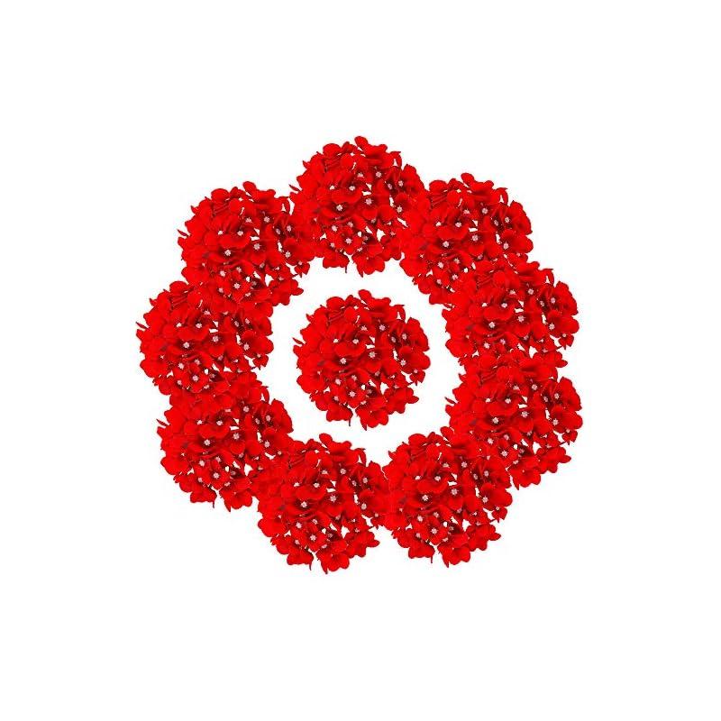 silk flower arrangements lushidi 10pcs silk hydrangea heads with stems artificial flowers for wedding party home decor (red)