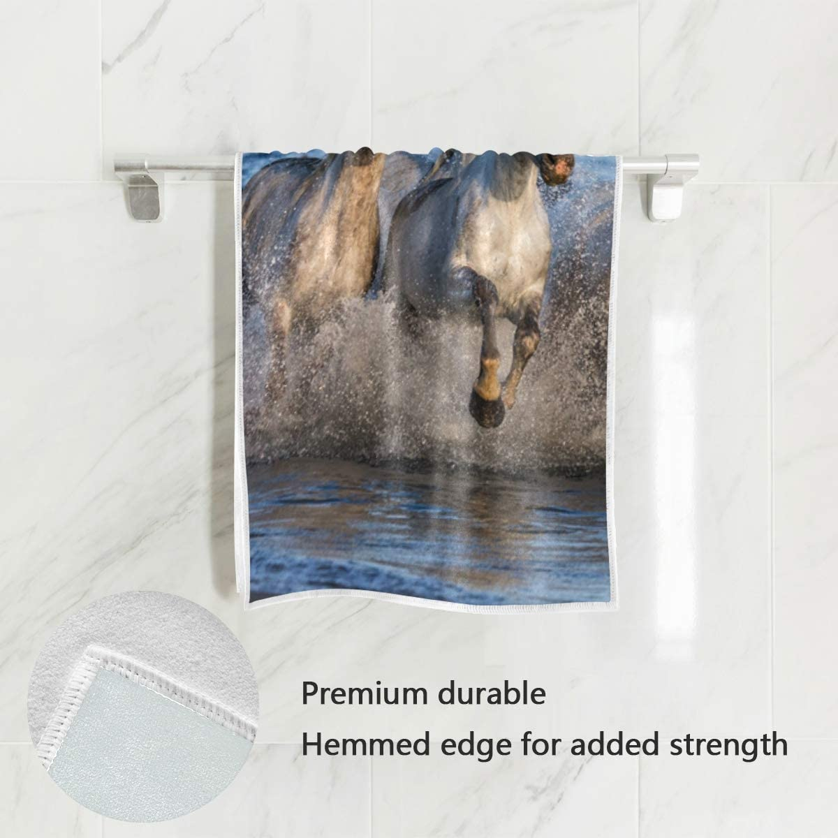 XiangHeFu Serviette de Bain D/écor Blanc hautement Absorbant Chevaux de Camargue Ultra Douche Douche Polyvalente De