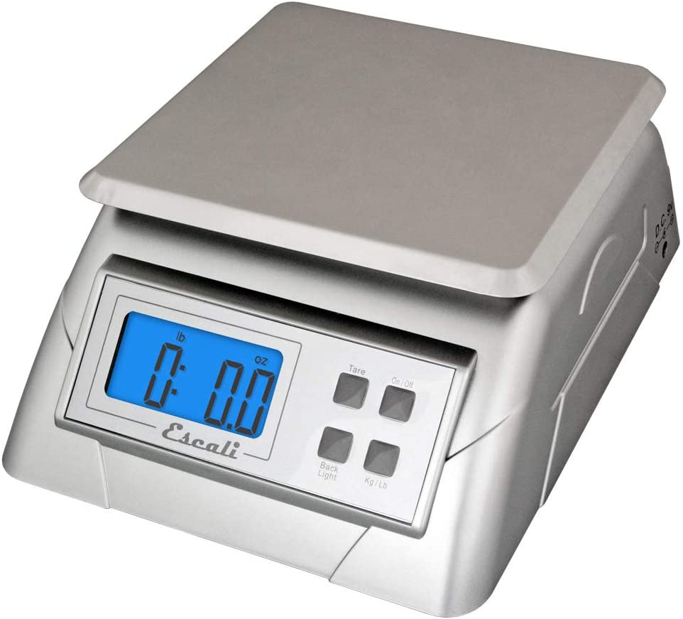 "Escali Alimento 136DK Ultra Accurate Scale for Kitchen, Lab or Office, Removable Platform, Digital LCD Display, 13.2lb Capacity, Stainess Steel, 9.75"" x 7.00"" x 3.75"", Stainless and White"