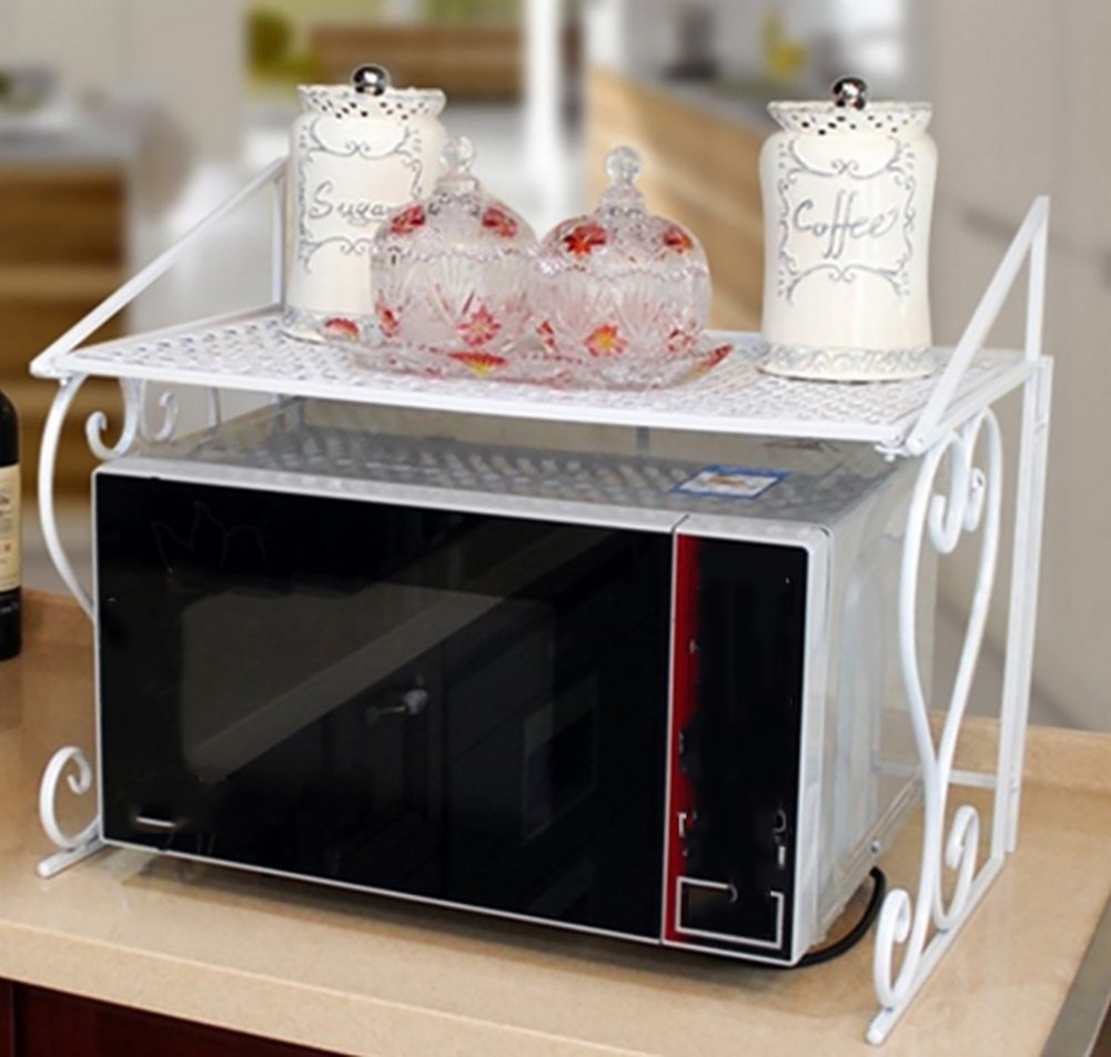 YANW-SHELF Kitchen Shelf Microwave Oven Seasoning Oven Rack, Iron Art Multifunction Creative Fashion Family Storage Rack Bathroom Storage Basket 1 Layer Bearing Weight 30kg (Color : White)