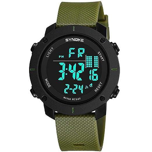 Mens Digital Relojes Deportivos Pantalla LED Multifunción 50M Relojes Militares de Doble acción