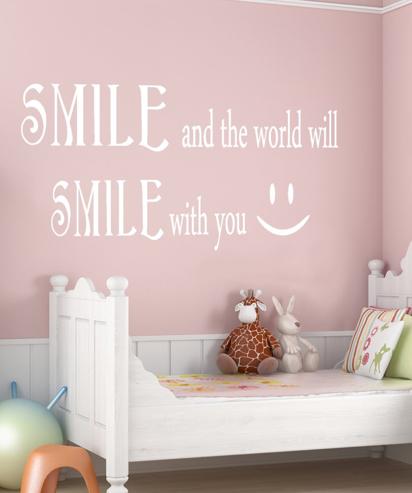 amazon com smile and the world will smile with you quote vinyl amazon com smile and the world will smile with you quote vinyl wall decal gfoster183s 21in h x 42in w home kitchen