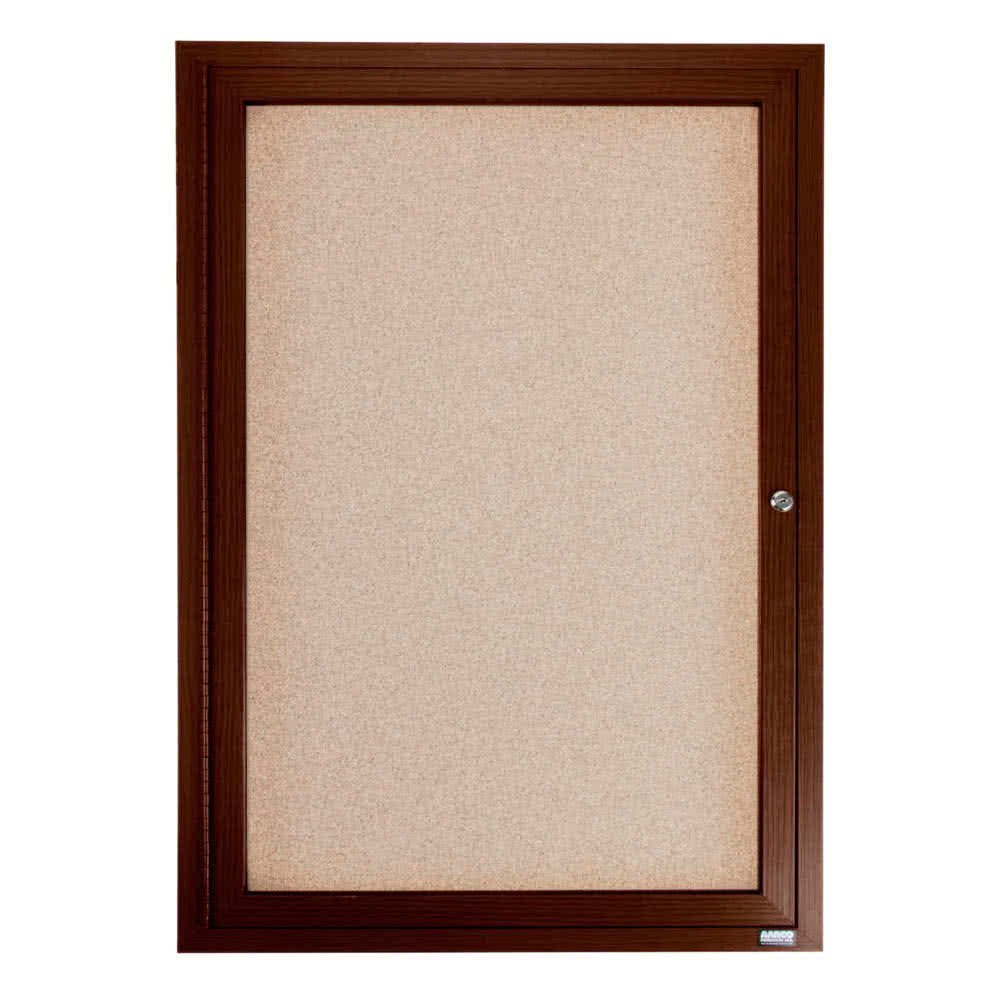TableTop King WBC2418R 24'' x 18'' Enclosed Hinged Locking 1 Door Bulletin Board with Walnut Finish