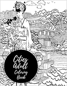 Cities Adult Coloring Book: Houses & Skylines. Large