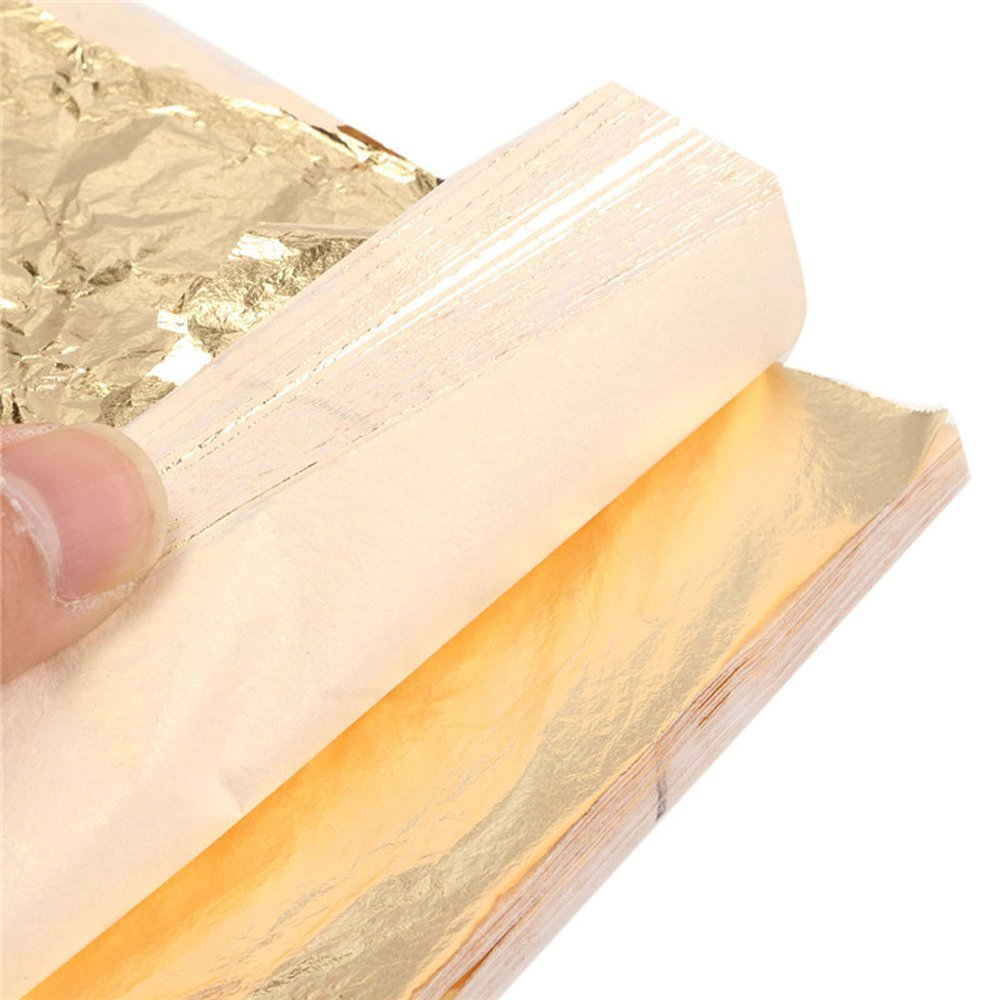 Kixnor 100 Sheets Imitation Gold Leaf for Arts,Gilding Crafting,Decoration,Furniture,5.5 by 5.5 inches Gold