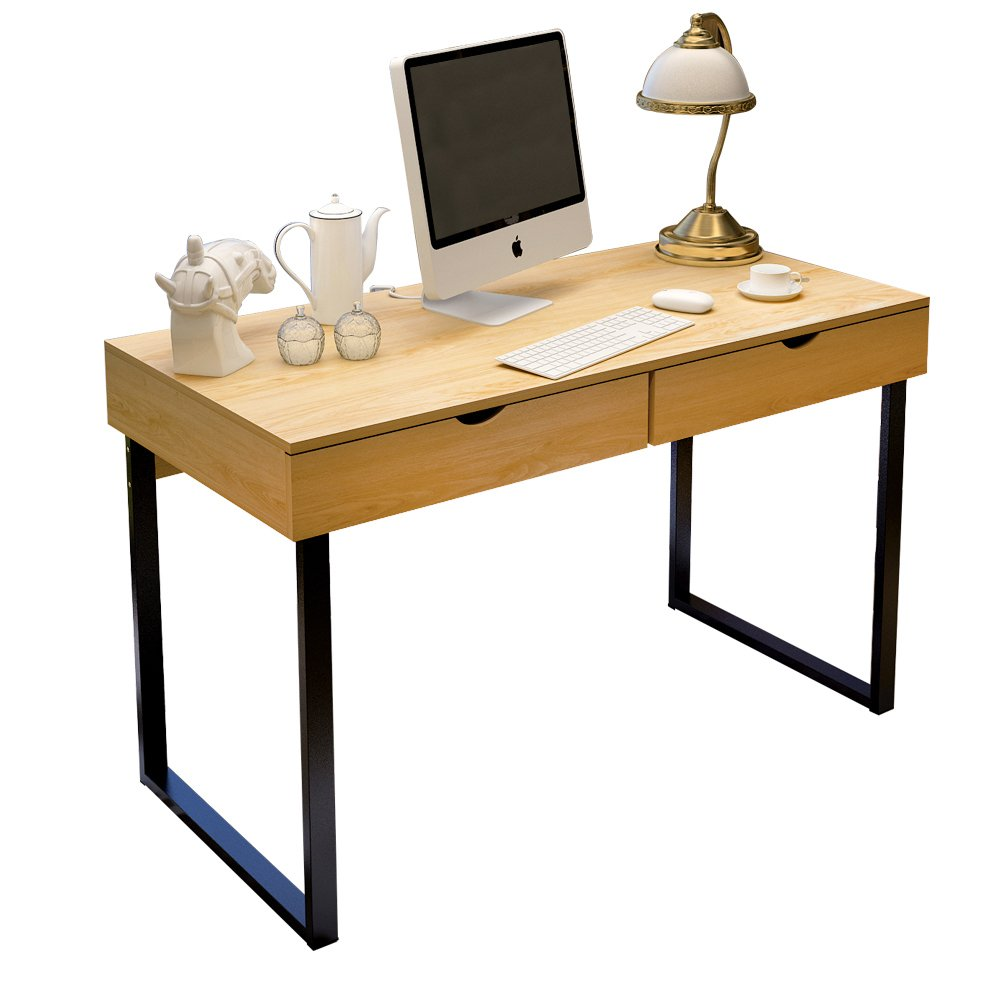 Dland Home Office Computer Desk 47'' with Double Drawer Writing Dressing table PC Laptop Modern Workstation, Teak
