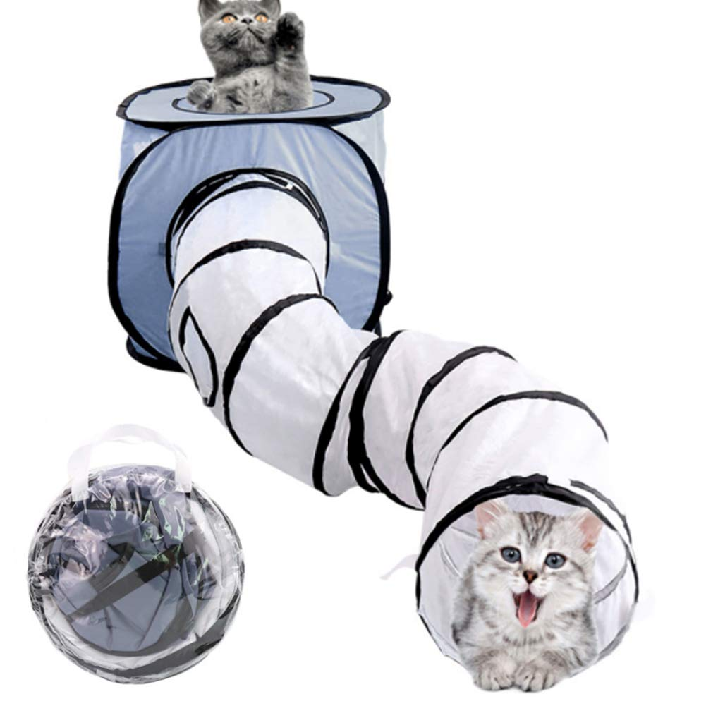 PJDDP Collapsible Cat Tunnel and Cubes Bundle,Cat Play Tunnel,Compound Pet Play House,Interactive Crinkle Cat Toy Tube Playground for Pet, Cats and Puppy,Gray by PJDDP