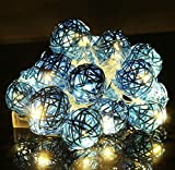 Christmas lamp,Sumilulu 20 LED Rattan Ball String Fairy Lights For Xmas Wedding Party (Blue)