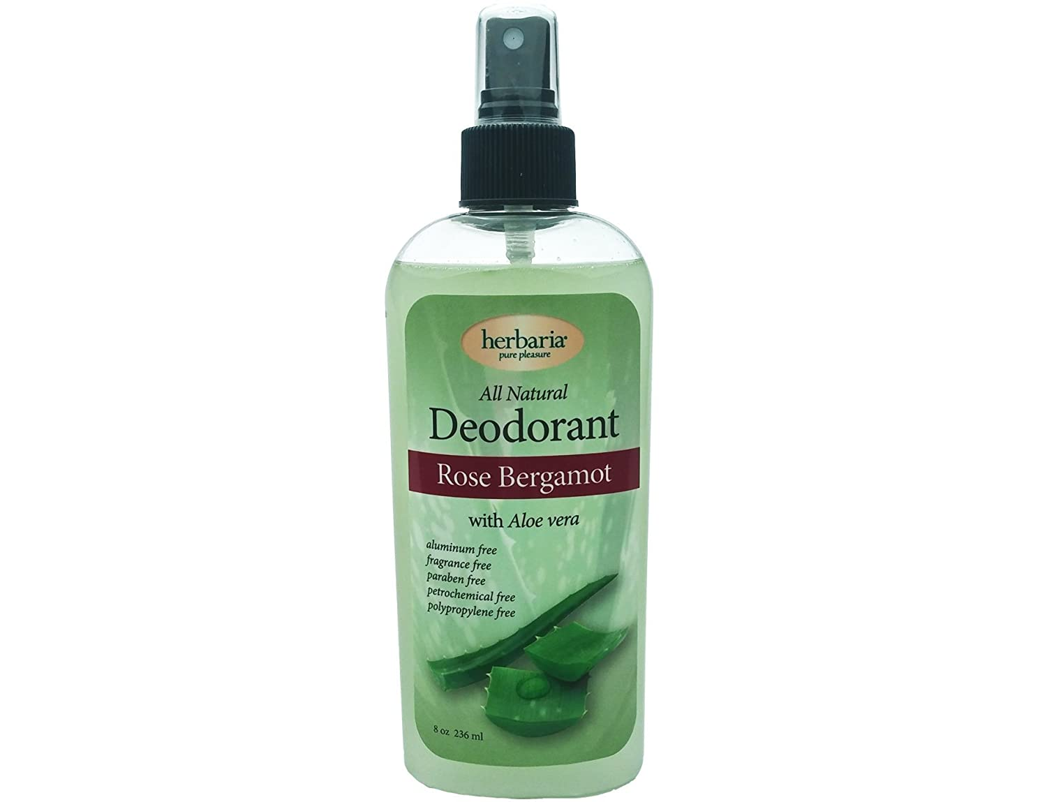 Herbaria all natural Rose Bergamot Deodorant with essential oils and aloe 8 ounces