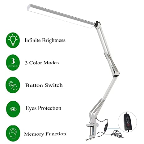 Swell Novolido Led Desk Lamp 3600 Metal Aluminum Swing Arm Drafting Table Lamp 3 Colors Modes Architect Task Lamp With Clamp 7 8W Infinite Brightness Home Remodeling Inspirations Basidirectenergyitoicom