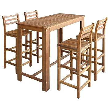 Festnight 5 Teiliges Barset Tisch Und Hocker Set Bartisch Und