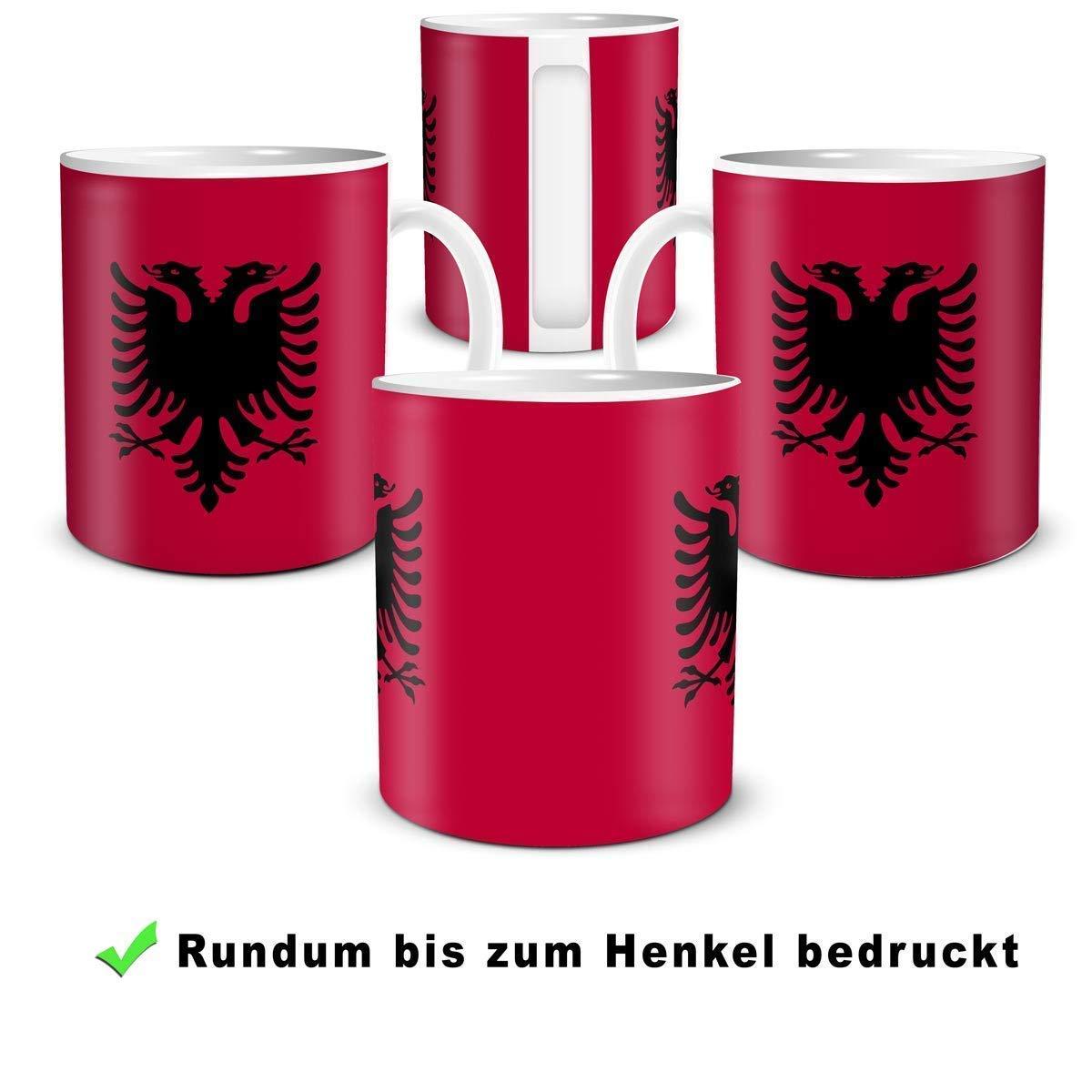 Geschenk Tasse mit Flagge Albanien L/änder Flaggen Geburtstagsgeschenk Souvenir Albania f/ür Reiseliebhaber Frauen M/änner
