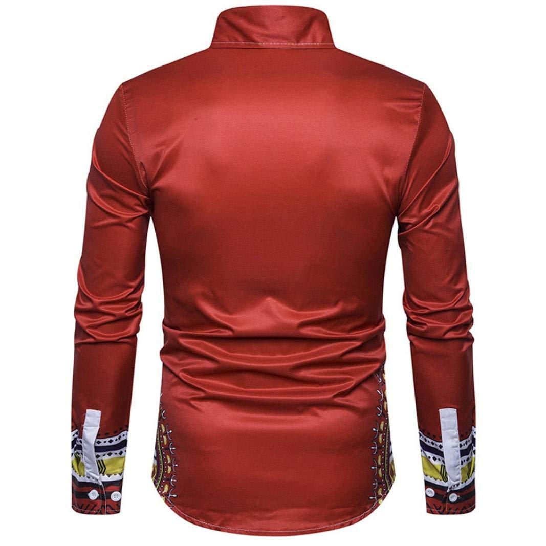 Men's Shirts On Sale, Jiayit Men's African Print Dashiki T-Shirt Autumn Long Sleeve Fashion Tops Tee (3XL, Red) by Jiayit Men Shirt (Image #2)