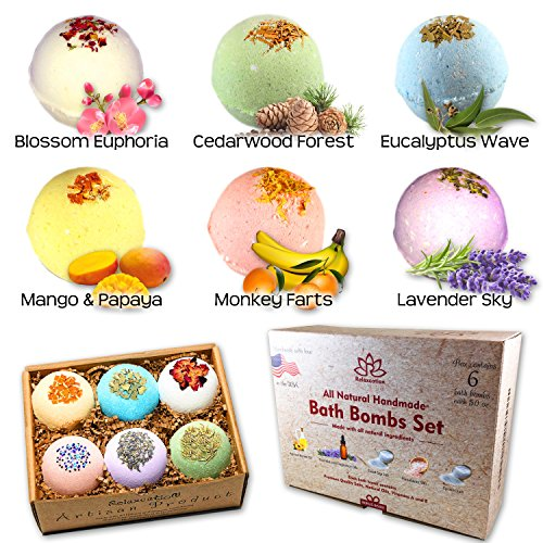 Organic Mother Day Bath Bombs Gift Set For Women - All Natural with Bath Salts: Dead Sea and Epsom Salt - Best Gift Idea for Her, Mom, Wife, Mother, Grandma, Girlfriend, Sister Safe for Kids -