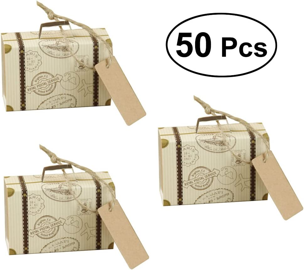 LUOEM Mini Maleta Kraft Candy Cajas Vintage Papel Kraft con Etiquetas y Arpillera Cordeles para la Boda Evento de Cumpleaños de Navidad Favores de Fiesta