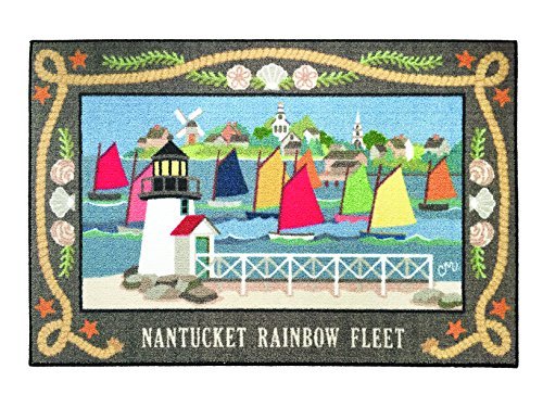 Area Rugs Indoor Outdoor Nautical Decor Washable Rugs Claire Murray Nantucket Flags 30x46 Inch by Claire Murray